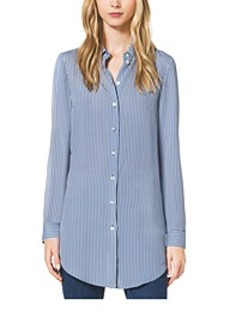 Ticking Stripe Silk-Georgette Shirt