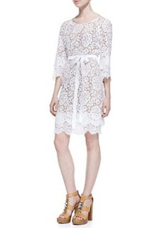Tie-Waist Scalloped Lace Dress, Optic White   Tie-Waist Scalloped Lace Dress, Optic White