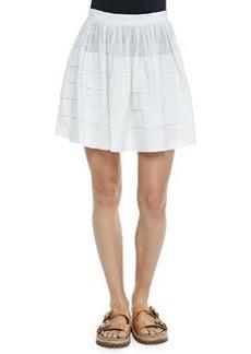 Tiered Cotton Miniskirt, Optic White   Tiered Cotton Miniskirt, Optic White