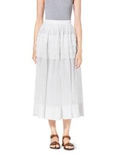 Tiered Cotton-Organdy Maxi Skirt