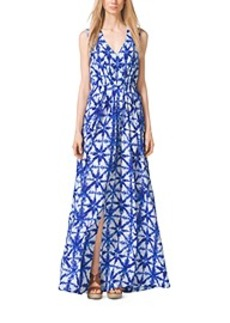 Tile-Print Crepe Maxi Dress, Plus Size