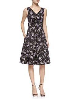 V-Neck Floral Stretch-Cotton Dance Dress   V-Neck Floral Stretch-Cotton Dance Dress