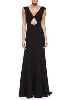 V-Neck Gown with Cutout, Black   V-Neck Gown with Cutout, Black