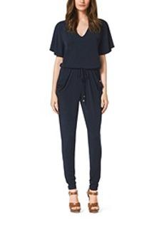 V-Neck Matte-Jersey Jumpsuit, Plus Size
