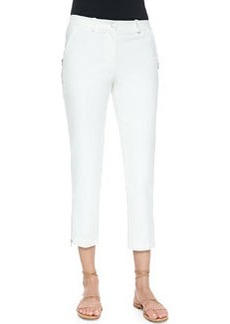Zip-Detailed Skinny Ankle Pants, Optic White   Zip-Detailed Skinny Ankle Pants, Optic White