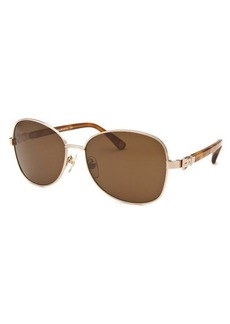Michael By Michael Kors Women's Alissa Square Rose-Tone Sunglasses