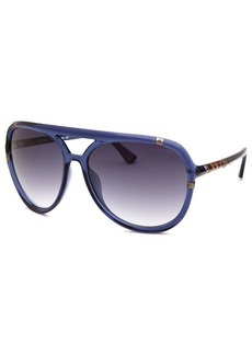 Michael By Michael Kors Women's Jemma Aviator Transparent Blue Sunglasses