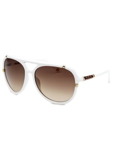 Michael By Michael Kors Women's Jemma Aviator White Sunglasses