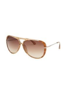 Michael By Michael Kors Women's Julia Aviator Light Brown Sunglasses