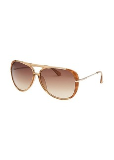 Michael By Michael Kors Women's Julia Aviator Light Brown Sunglasses