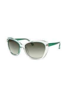 Michael By Michael Kors Women's Sabrina Cat Eye Translucent & Green Sunglasses