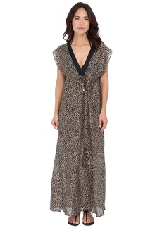 MICHAEL Michael Kors Abstract Jaguar Deep-V Cover-Up Dress