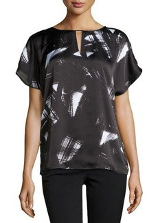 MICHAEL Michael Kors Abstract-Print Cap-Sleeve Blouse