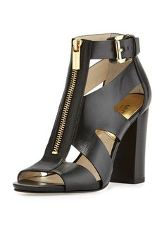 MICHAEL Michael Kors Anya Zip-Front Cutout Sandal, Black