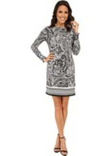 MICHAEL Michael Kors Ashbury Long Sleeve Boat Neck Border Dress