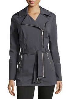 MICHAEL Michael Kors Asymmetric-Zip Belted Rain Coat