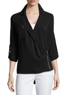 MICHAEL Michael Kors Asymmetric-Zip Tab-Sleeve Blouse