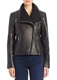 MICHAEL MICHAEL KORS Asymmetrical Zip-Front Leather Jacket