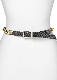MICHAEL Michael Kors Belt - Braided Leather with Tortoise & Metal Links