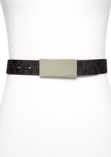 MICHAEL Michael Kors Belt - Logo PVC Panel Plaque Buckle