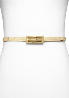 MICHAEL Michael Kors Belt - Metallic Embossed Lizard & Suede Reversible