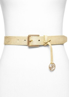 MICHAEL Michael Kors Belt - Metallic Embossed Lizard With Drop Logo