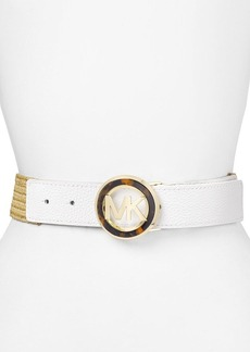 MICHAEL Michael Kors Belt - Stretch Straw with MK Tortoise Logo Buckle