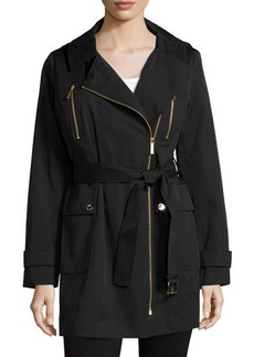 MICHAEL Michael Kors Belted Asymmetric-Zip Hooded Trenchcoat