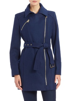 MICHAEL MICHAEL KORS Belted Asymmetrical Zip-Front Coat