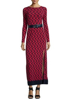 MICHAEL Michael Kors Belted Long-Sleeve Printed Maxi Dress