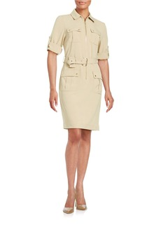 MICHAEL MICHAEL KORS Belted Roll Sleeve Shirt Dress