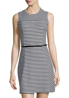 MICHAEL Michael Kors Belted Striped Sleeveless Dress