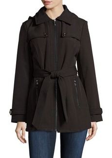 MICHAEL Michael Kors Belted Zip-Front Hooded Rain Coat