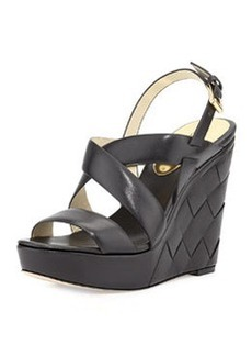 MICHAEL Michael Kors Bennet Leather Wedge Sandal, Black