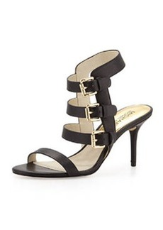 MICHAEL Michael Kors Beverly Buckle-Strap Leather Sandal, Black