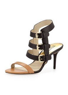 MICHAEL Michael Kors Beverly Buckle-Strap Leather Sandal, Peanut/Black
