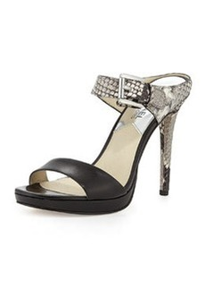 MICHAEL Michael Kors Beverly Snake-Embossed Mule Pump, Black/Natural