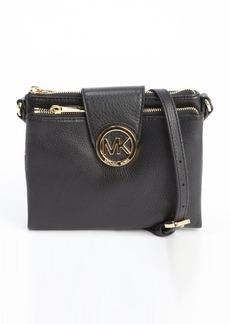 MICHAEL Michael Kors black leather double shoulder bag