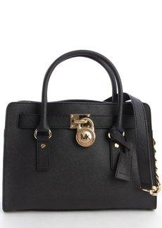 MICHAEL Michael Kors black leather 'Hamilton' logo lock clasp convertible top handle bag