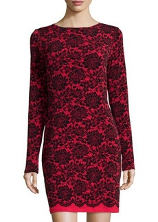 MICHAEL Michael Kors Boat-Neck Long-Sleeve Lace-Print Dress