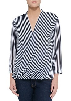 MICHAEL Michael Kors Boden Striped Surplus Blouse, Navy