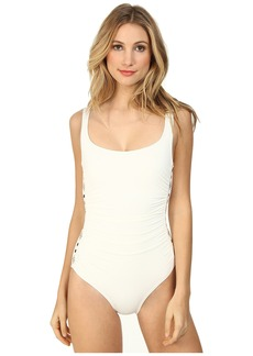 MICHAEL Michael Kors Boho Solids U-Neck Shirred Maillot