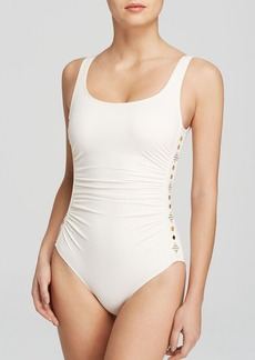MICHAEL Michael Kors Boho Solids U-Neck Shirred Maillot One Piece Swimsuit