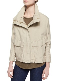 MICHAEL Michael Kors Boxy Washed Canvas Coat