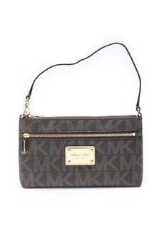 MICHAEL Michael Kors brown coated canvas monogram 'Jet Set Large Wristlet'