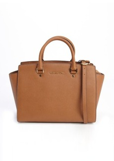 MICHAEL Michael Kors brown leather 'Selma' logo imprinted top handle convertible tote