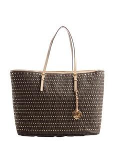MICHAEL Michael Kors brown studded leather medium 'Jet Set' tote bag