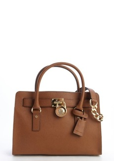 MICHAEL Michael Kors camel brown leather 'Hamilton' logo lock clasp convertible top handle bag