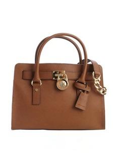 MICHAEL Michael Kors camel brown leather 'Hamilton' logo lock clasp convertible top handle bag