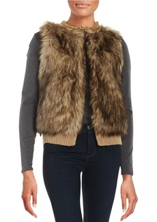 MICHAEL MICHAEL KORS Chain-Accented Faux Fur and Knit Vest